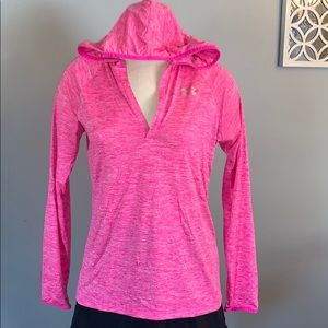 Hot pink under armor hooded shirt large